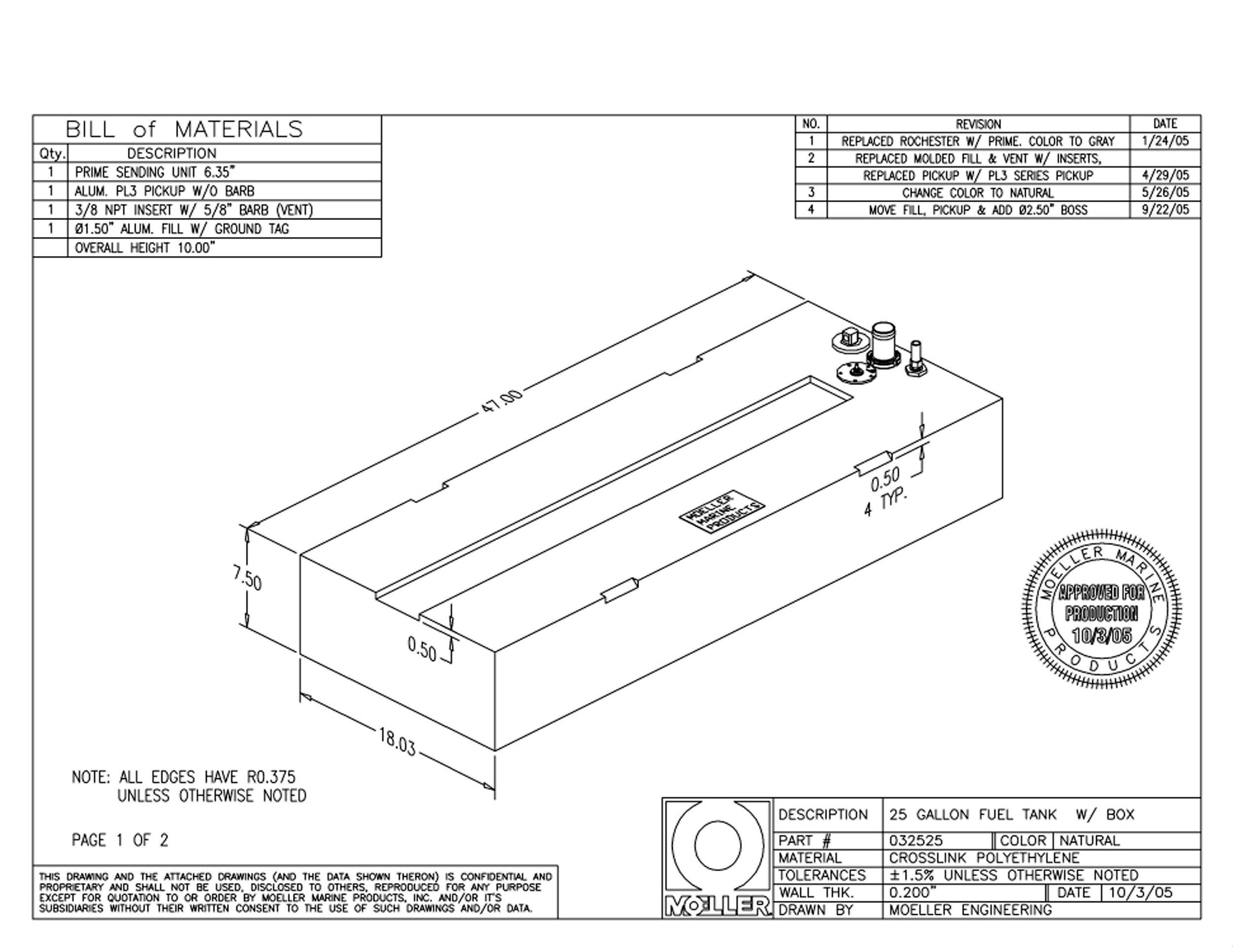 Moeller Marine Below Deck Permanent Fuel Tank (25-Gallon, 47'' x 18.03'' x 7.5'')