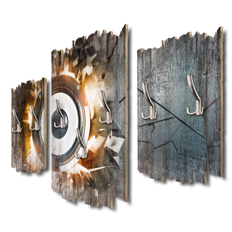 Kreative Feder Power Loudspeaker Designer Wandgarderobe Flurgarderobe Wandpaneele 95 x 60 cm aus MDF DTGH131