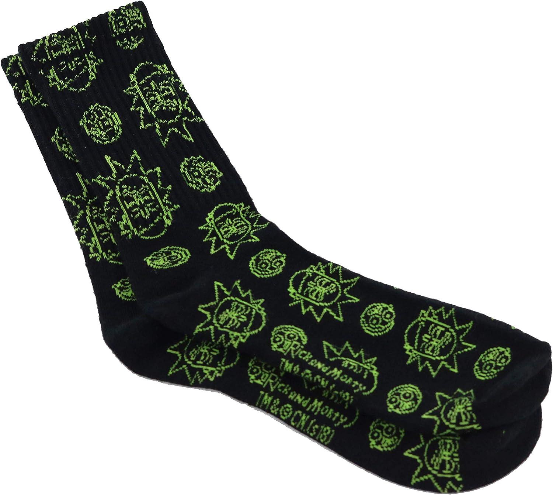 Apunis Original Rick and Morty chaussettes longues sneaker en coton noir chaussettes pour hommes tailles S//M//L