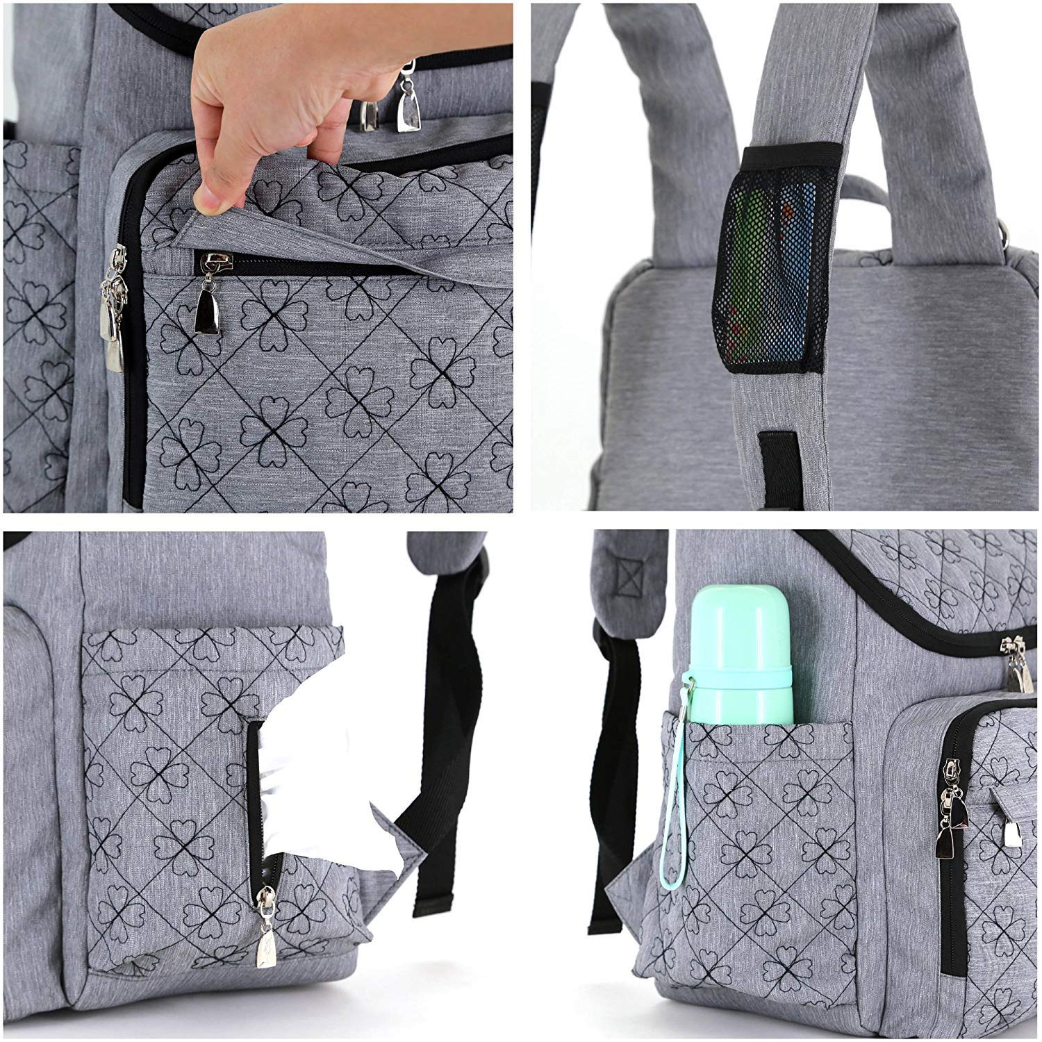 C-Xka Diaper Bag Backpack, Multi-Function Anti-Theft Mummy Bag, 12 Pockets Large-Capacity Out Fashion Mom Bag Maternal and Child Package (Color : A) XXN