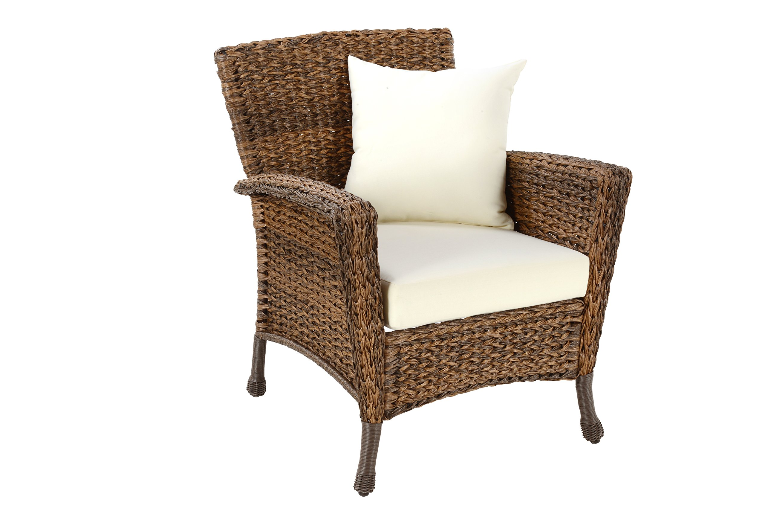 W Unlimited Rustic Collection Outdoor Furniture Light Brown Rattan Wicker 1x Arm Chair Garden Patio Furniture Conversation Set, Lounger Deep Seating Sectional Cushions
