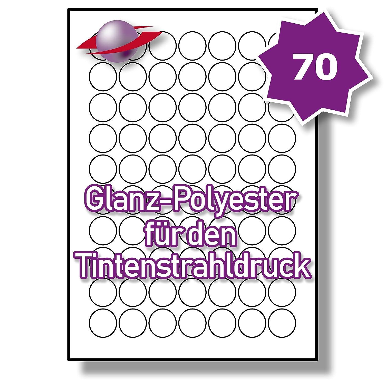 70 Pro Blatt, 250 Blätter, 17500 Etiketten. Label Planet® A4 Runden Glänzend Klar Polyester Etiketten Für Tintenstrahldrucker 25mm Durchmesser , LP70 25 R GCP.