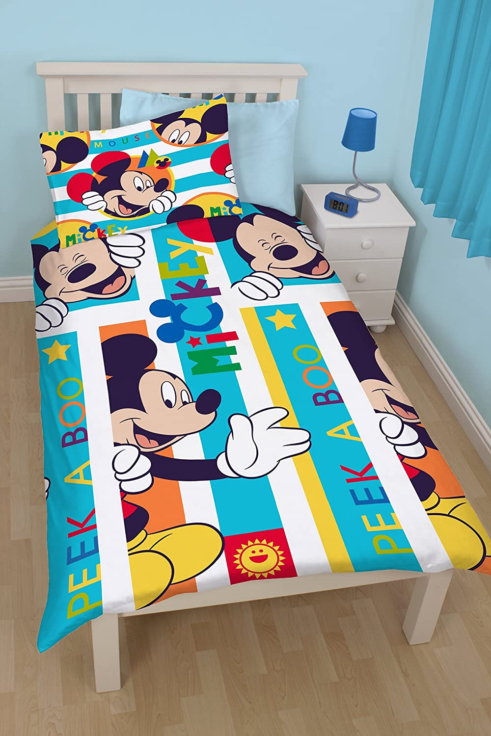 Mickey Mouse Bedroom Curtains Disney Mickey Mouse Boo Single Rotary Duvet Set Amazoncouk