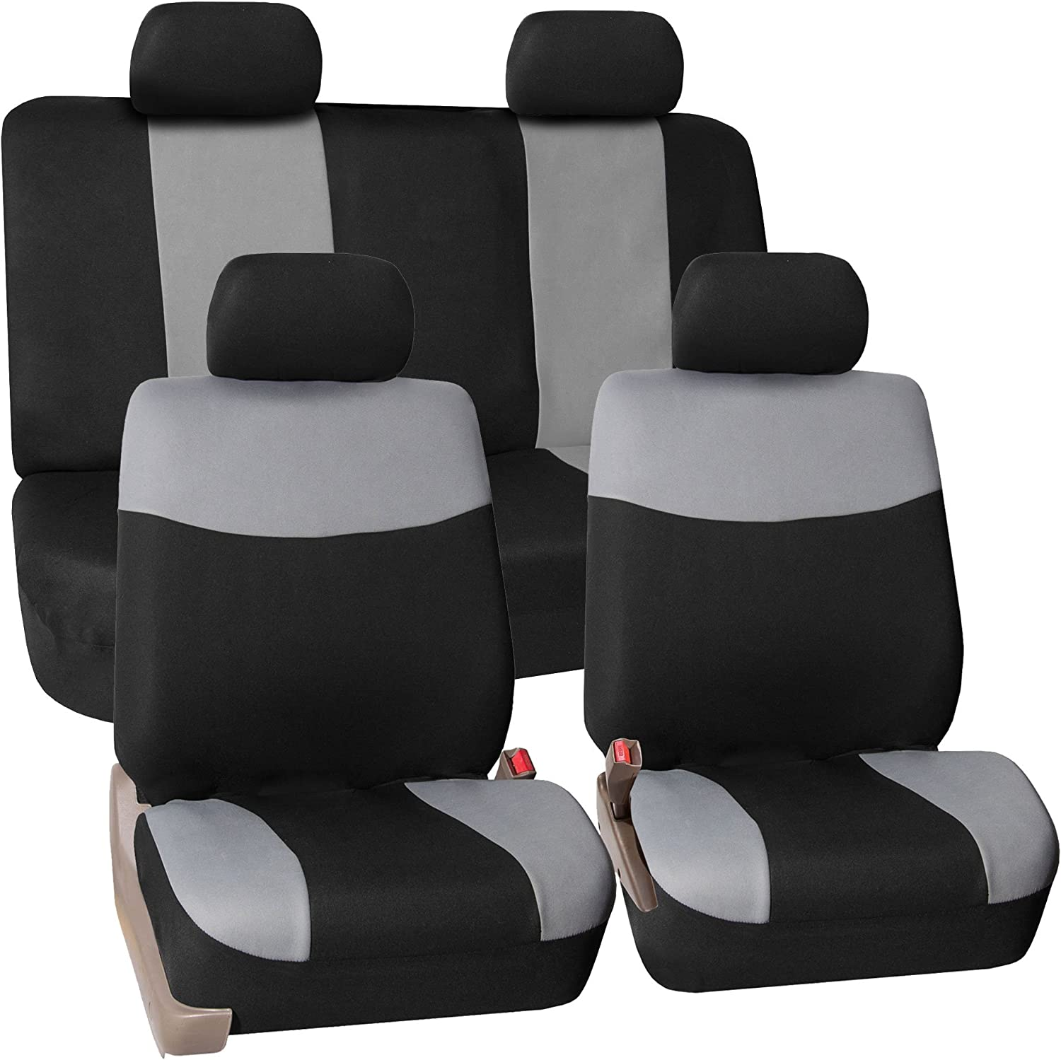 FH Group Stylish Cloth Full Set Car Seat Covers, Gray/Black- Fit Most Car, Truck, SUV Van