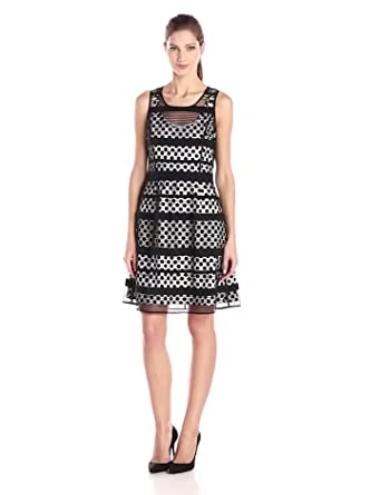Jessica Simpson Women's Lace Overlay Fit and Flare Dress, Black, 4