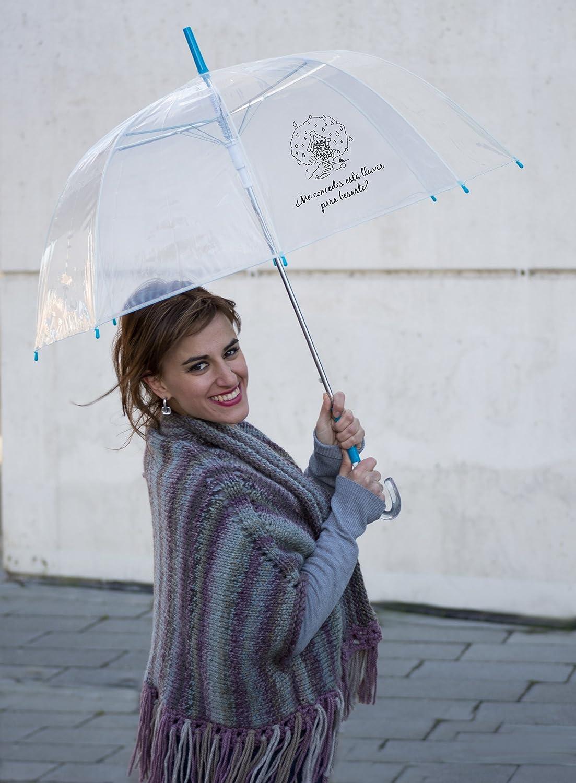 Paraguas transparente con frase edición San Valentín.
