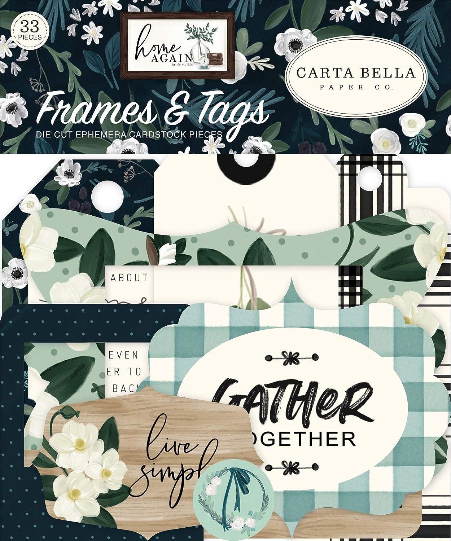 Carta Bella Paper Company Home Again Frames & Tags ephemera, green, blue, woodgrain, black, teal