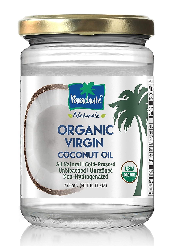 Parachute Naturalz 100% Organic Virgin Coconut Oil 16 fl.oz. Glass Jar (473ml) - Cold Pressed, USDA certified, Cooking Oil