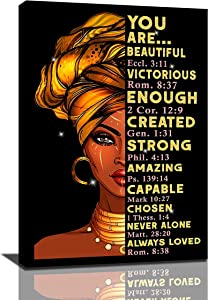African American Wall Art Black Woman Queen Painting Home Decor For Bedroom Living Room Black Wall Art Woman Gifts Framed Ready To Hang, 16x24 Inch