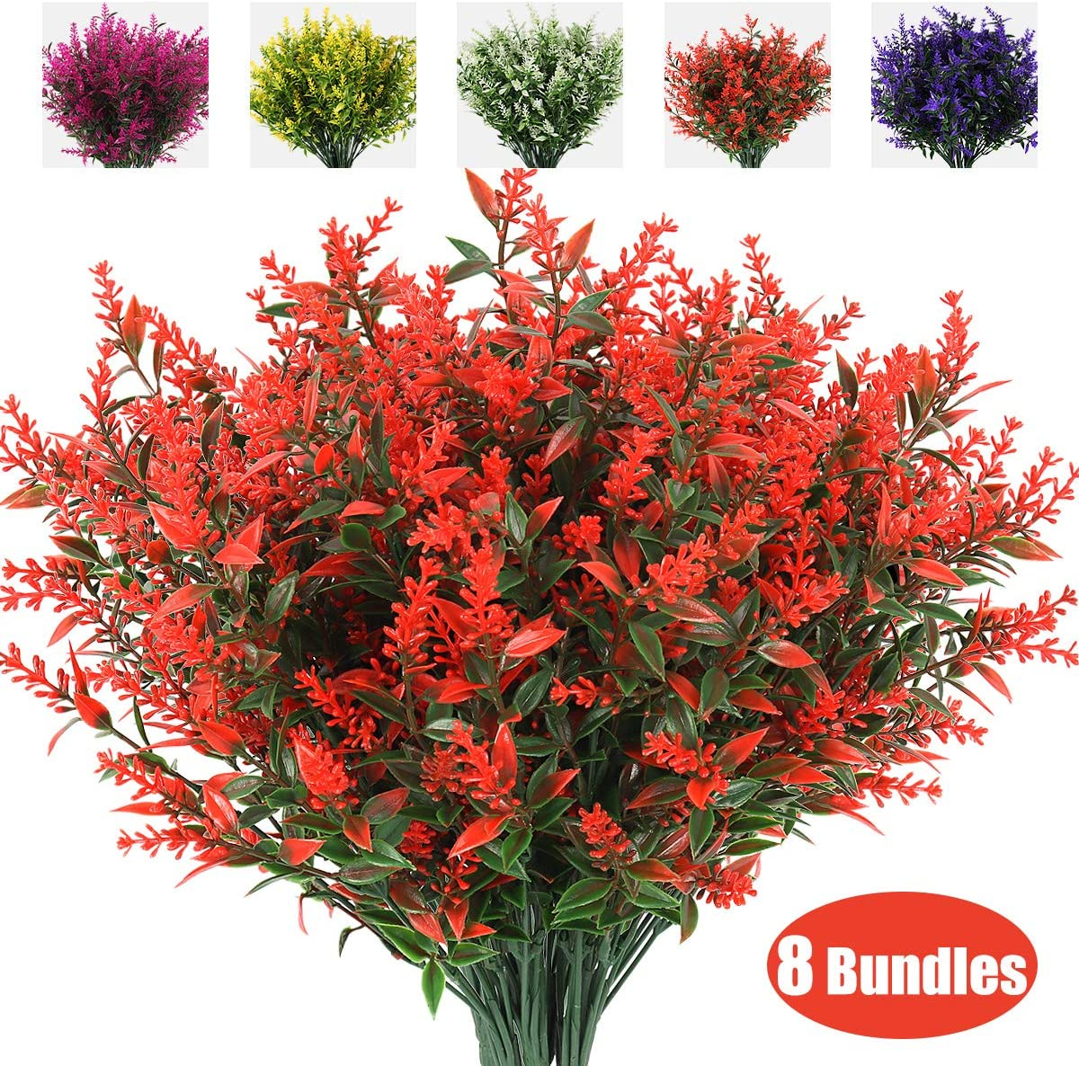 RECUTMS Artificial Lavender Flowers Plants 8 Bundles UV Resistant Faux Outdoor Plastic Greenery Shrubs Plants Hanging Planter Kitchen Home Wedding Office Garden Decor (Orange Red)