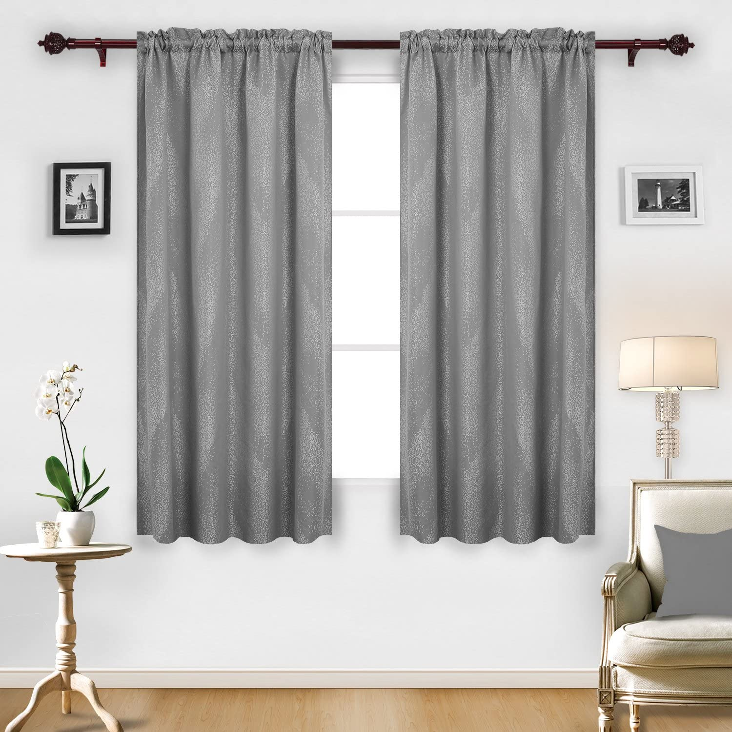 52X63Inch Grey Deconovo Rod Pocket Luxurious Jacquard Curtain Panels with Marble Pattern for Living Room