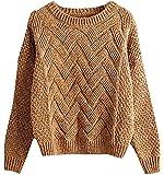 BLady Women Cotton Basket Weave Speckled Knit Full Sleeve Short Sweater