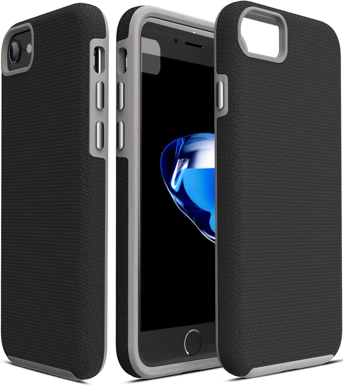 TOZO for iPhone 7 Case/iPhone 8 Case, Armor Series Football Pattern Texture Soft Touch Anti-Slip Grip [Shock Proof] Ultra Rugged Dual Layer Protect Case [Gray+Black]