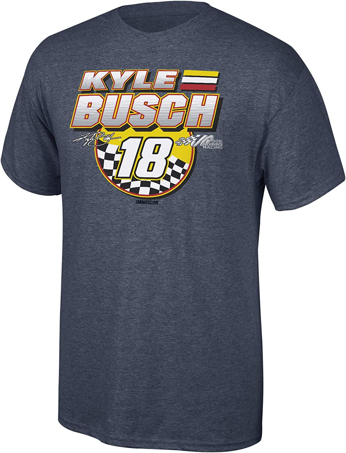 Elite Fan Shop Kyle Busch Mens Fan Favorite Checkered Flag Cotton Short Sleeve Tee Small