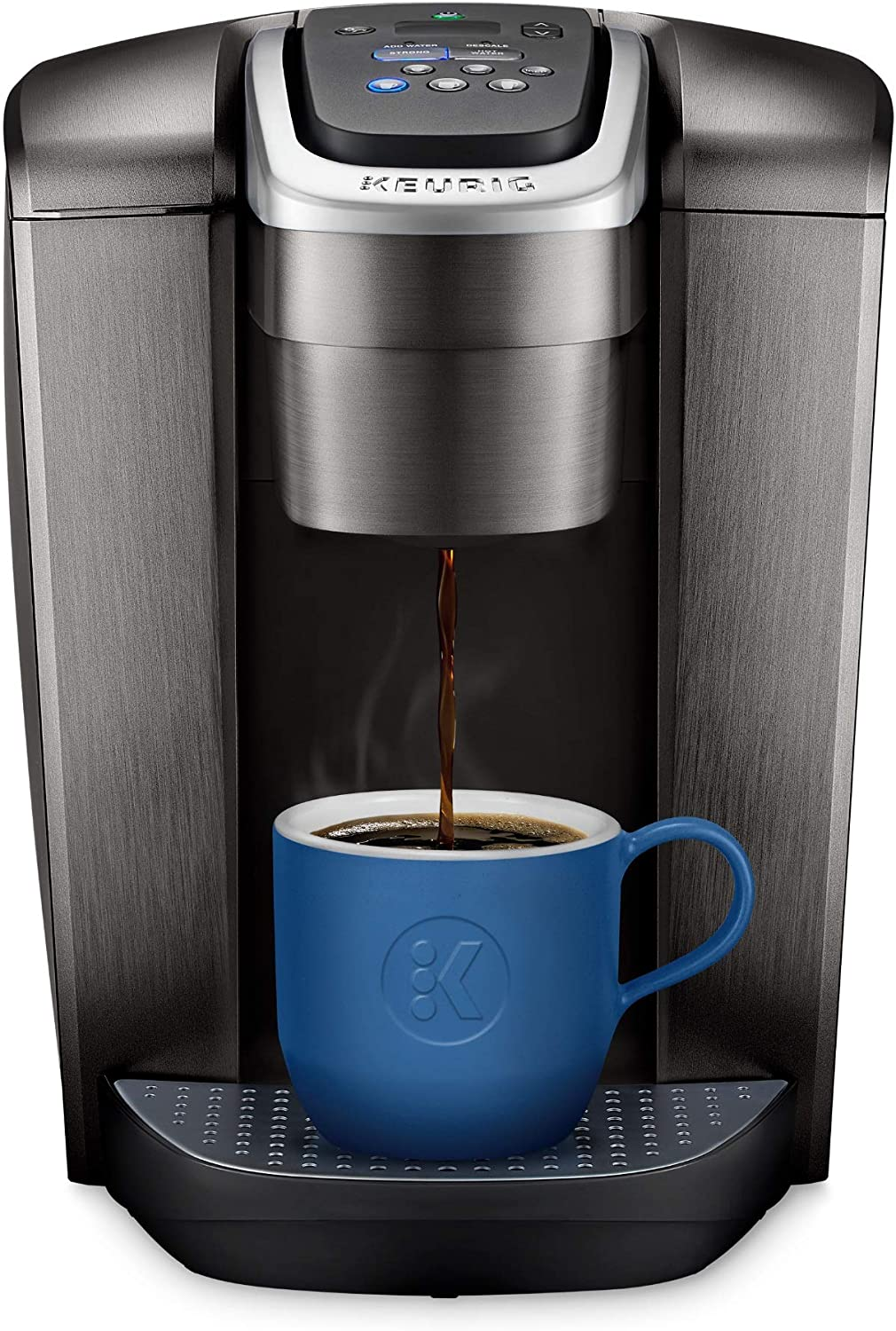 Keurig K-Elite Coffee Maker, Single Serve K-Cup Pod Coffee Brewer, With Iced Coffee Capability, Brushed Slate (Renewed)