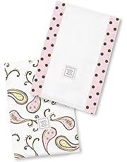 SwaddleDesigns Baby Burpies, Pastel Pink Triplets Paisley (Set of 2 Burp Cloths)