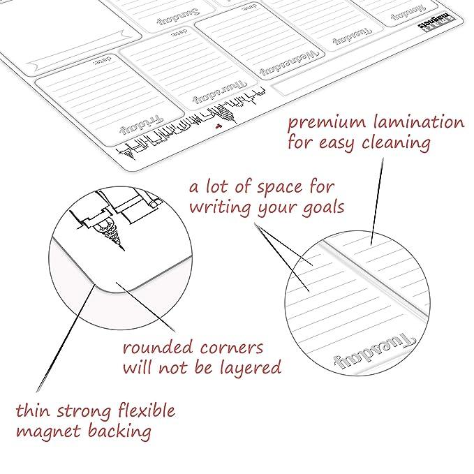 Amazon.com: Calendario de borrado en seco magnético blanco ...