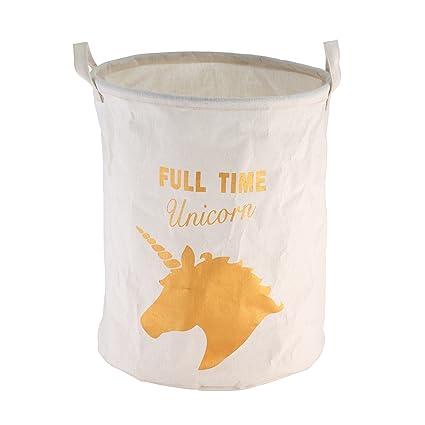 Unicornio Cesto color blanco + Dorado Unicorn de Print aprox. 40 litros – Cesto textil