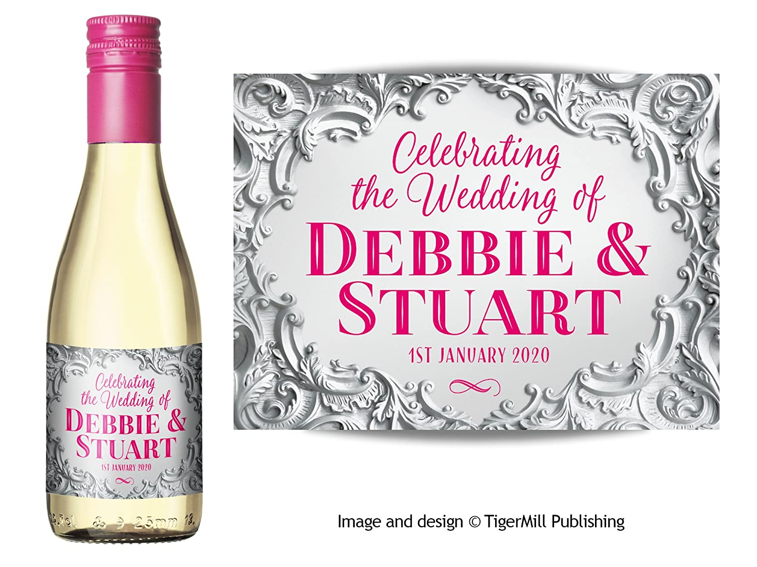 Hen Party Anniversary Birthday Wedding Favour Engagement Pack of six Personalised Labels for Mini Champagne or Mini Wine Bottles Silver Baroque Effect Any Occasion Gift