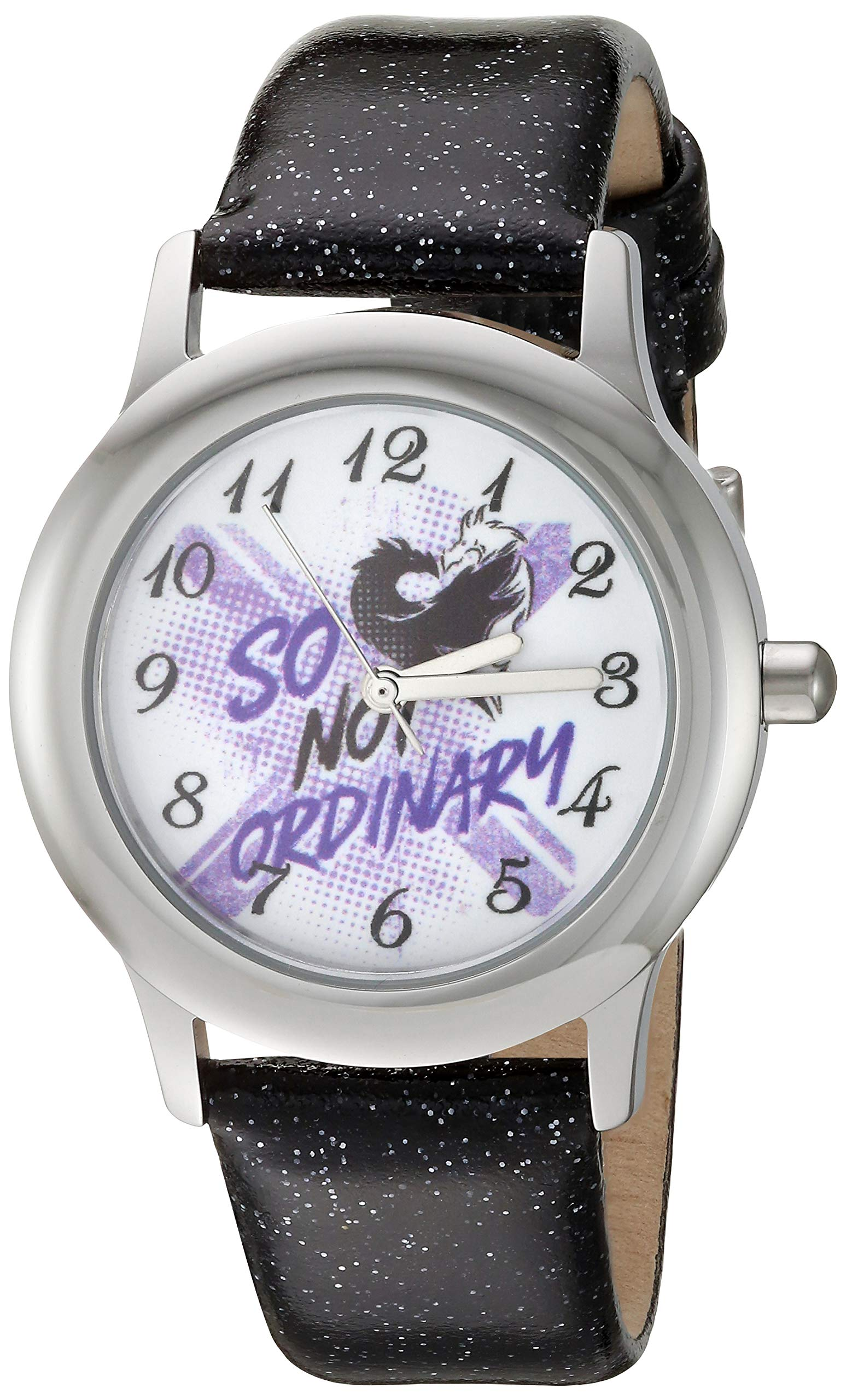 Disney Girls' Descendants 3 Stainless Steel Analog Quartz Watch with Patent Leather Strap, Black, 15 (Model: WDS000771) by Disney