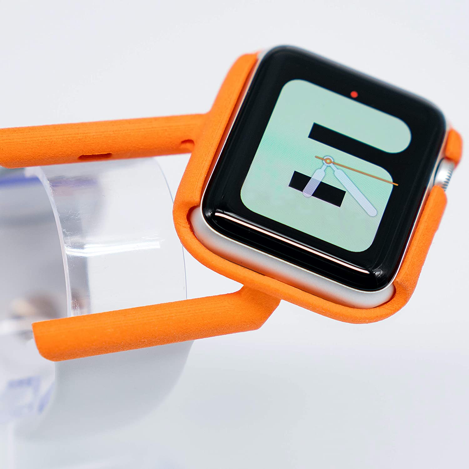 TILT Apple Watch Band - Tilted Apple Watch Holder - Compatible With Apple Watch - Orange - Apple Watch Case For Cycling, Hiking, Driving, Gaming & More - Comfortable Ergonomic Viewing Angle For Your Apple Watch