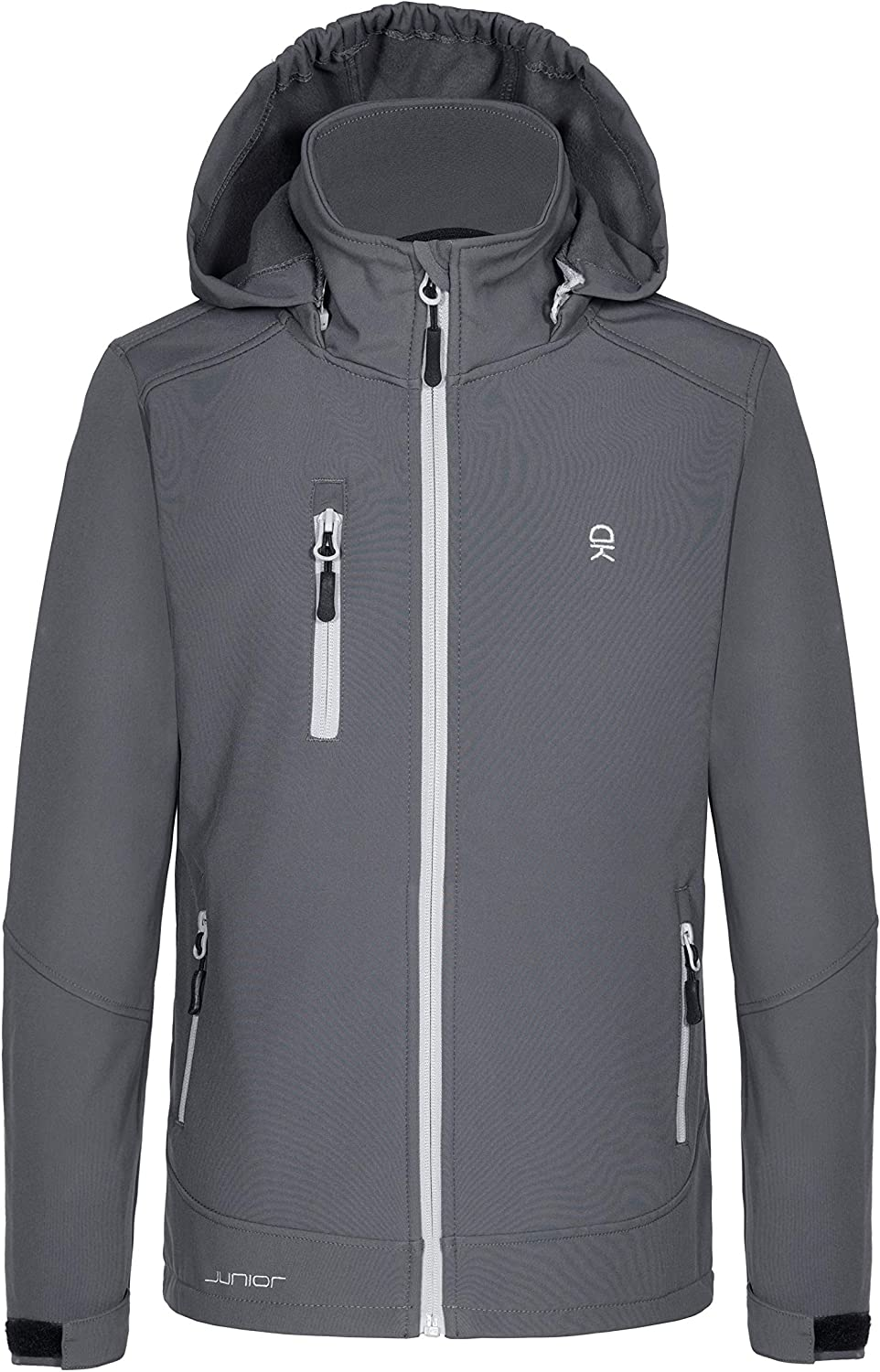 Little Donkey Andy Boys Softshell Jacket with Removable Hood Fleece Lined and Water Repellent Gray Size 128
