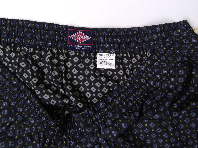 100/% Pure Silk Boxer Shorts Masculine Navy Blue Diamond Print Large