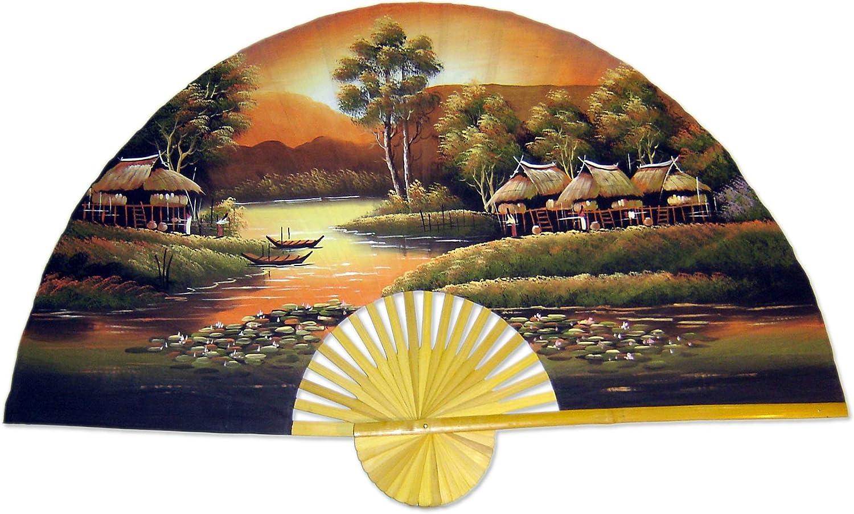"Large 60"" Folding Wall Fan - Golden Village - Original Hand-Painted Wall Art"