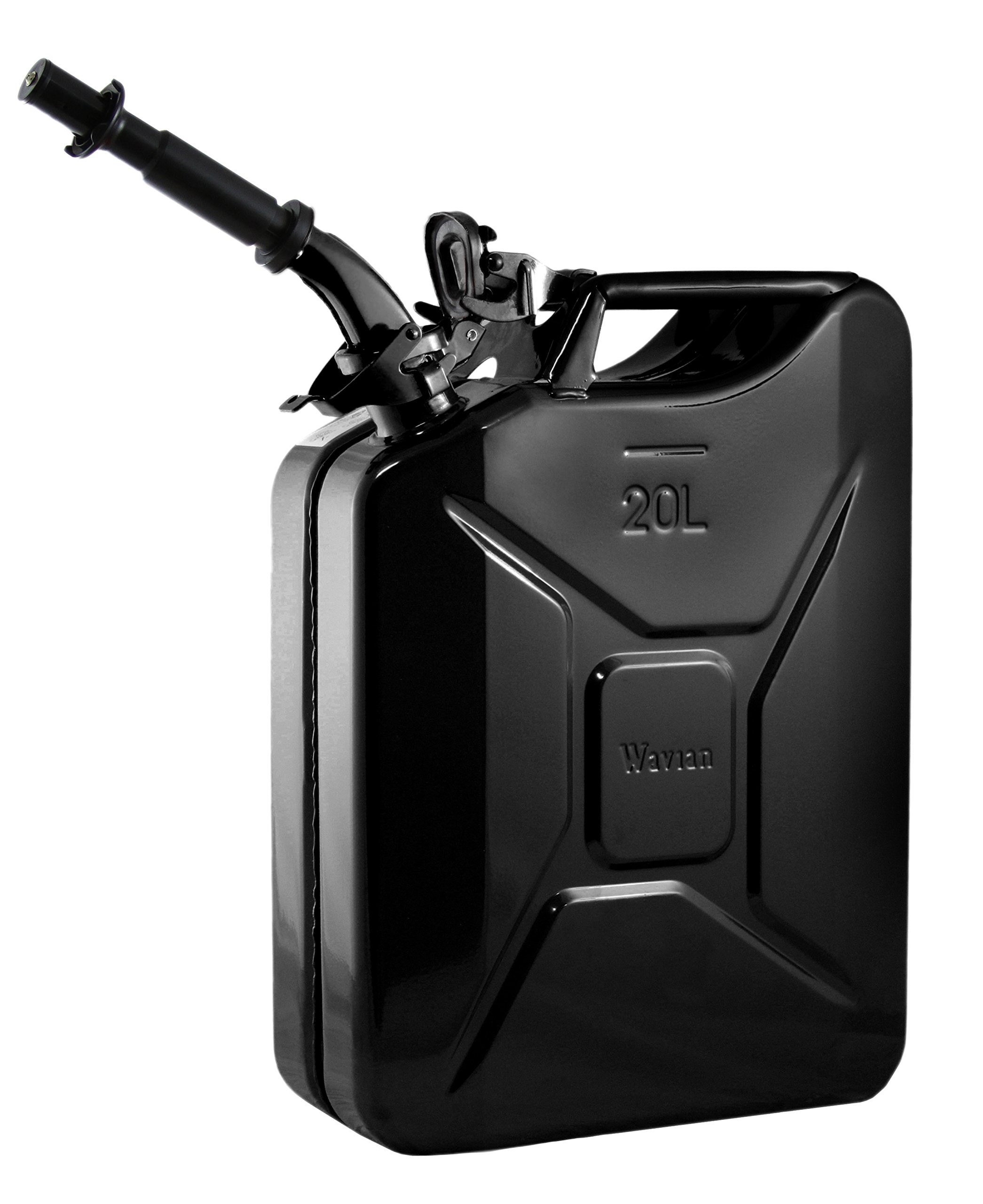 Wavian USA JC0020BVS Authentic NATO Jerry Fuel Can and Spout System Black (20 Litre) by Wavian USA