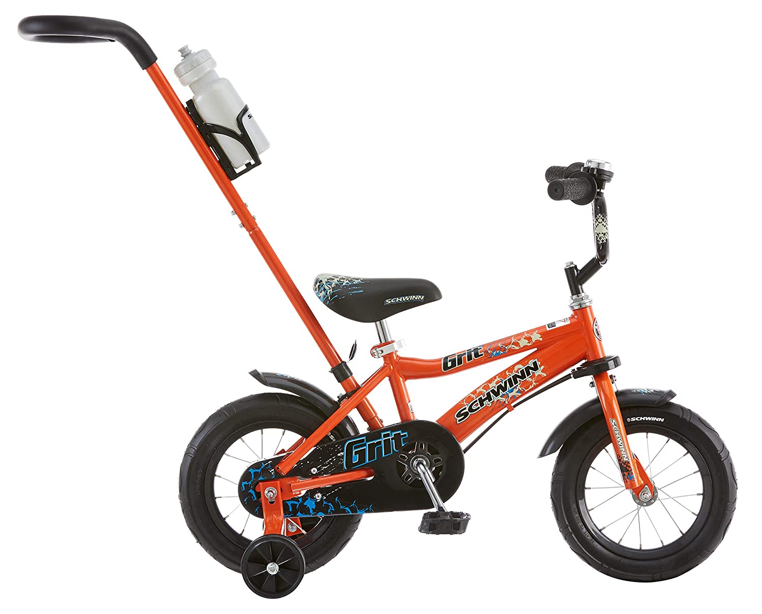 abd4c184d41 Amazon.com : Schwinn Grit Steerable Kids Bike, Featuring Push Handle for  Easy Steering, Training Wheels, Enclosed Chainguard, Quick-Adjust Seat, and  12-Inch ...