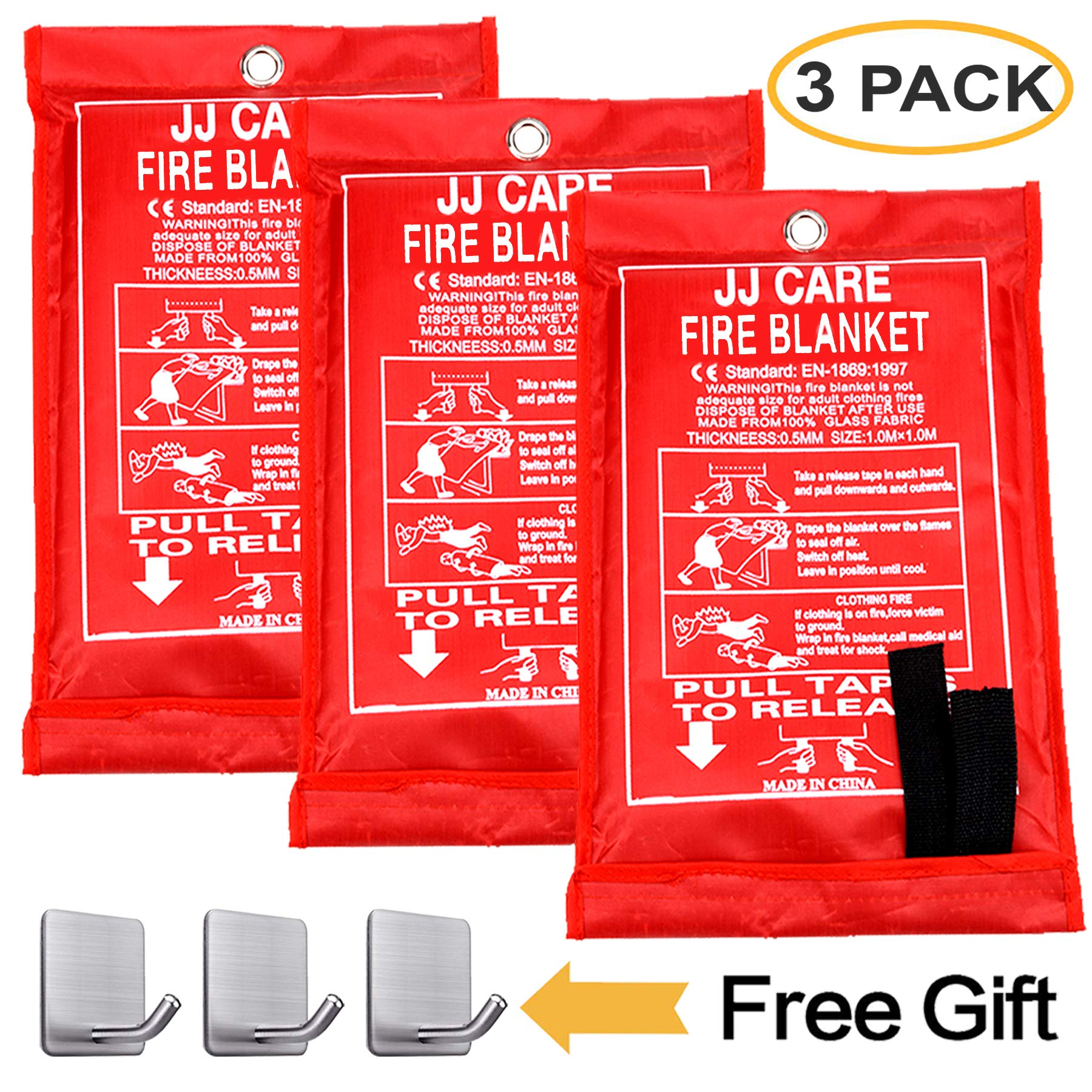 JJ CARE [Pack of 3] Fire Blanket Fire Suppression Blanket Made from Fiberglass Cloth - Suitable for Camping, Grilling, Kitchen Safety, Car and Fireplace Fire Retardant Blanket for Emergency 40''x40'' by JJ CARE