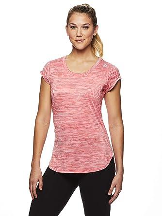 75dcd8786e424 Reebok Women's Legend Performance Short Sleeve T-Shirt with Polyspan Fabric  - Hibiscus Heather, Small
