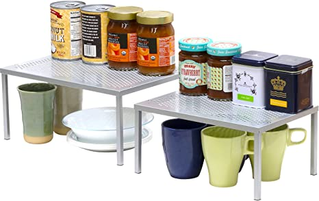 Simplehouseware Expandable Stackable Kitchen Cabinet And Counter Shelf Organizer Silver