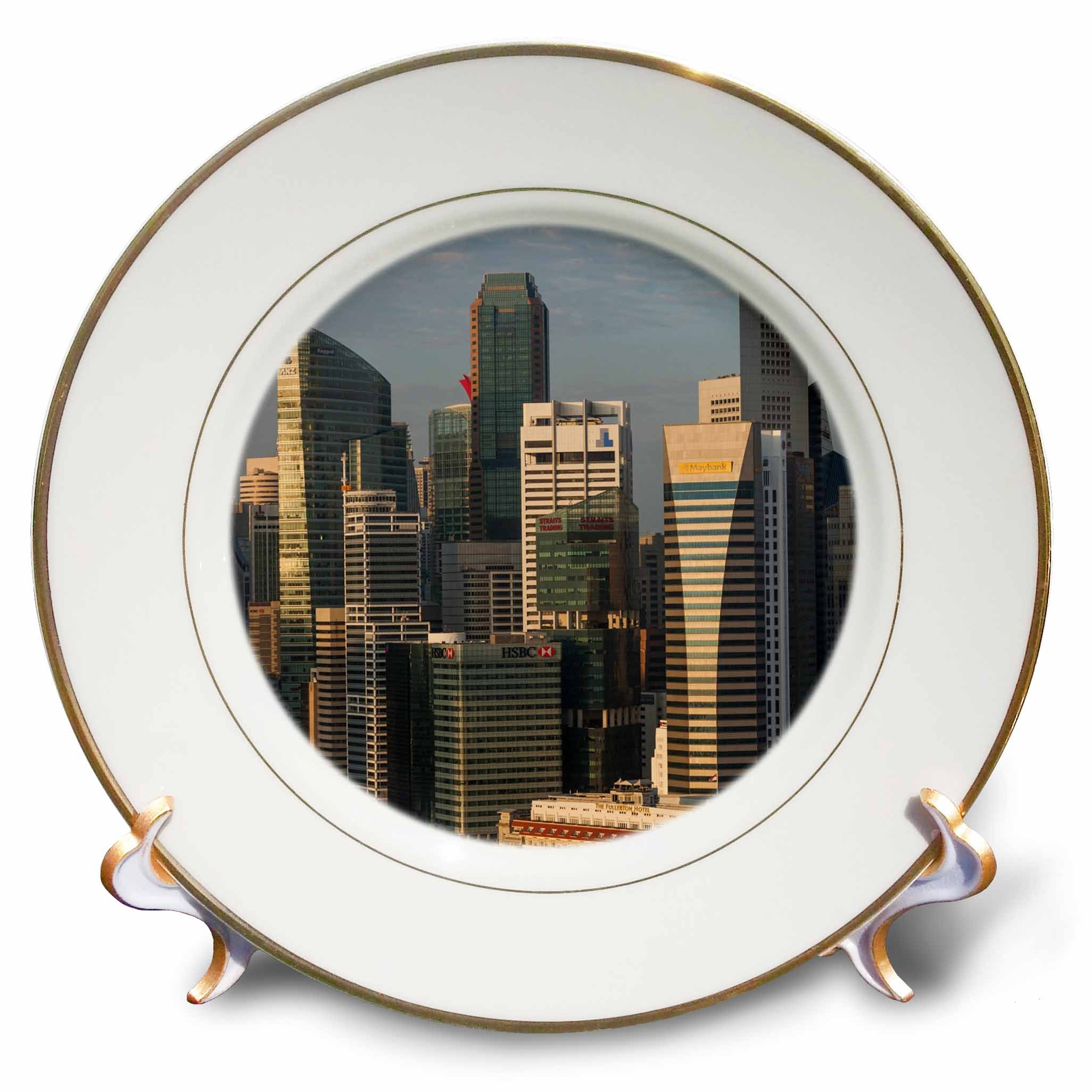 3dRose Danita Delimont - Cities - Singapore, elevated skyline view above Fullerton Hotel, dawn - 8 inch Porcelain Plate (cp_257279_1)