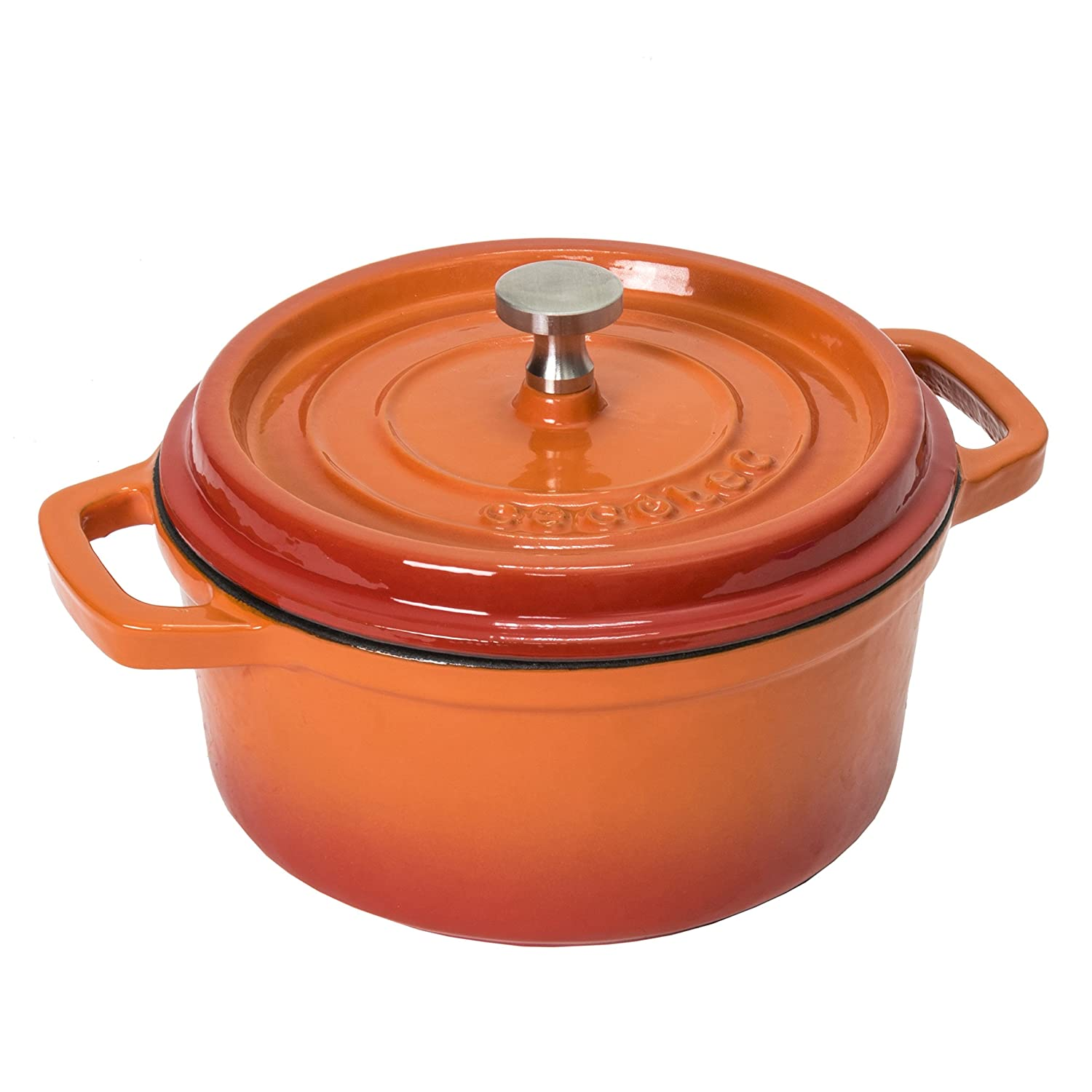 Cecotec Round Cocotte - Cast-Iron Casserole Pan with Stainless Steel Knob - 24 cm, for 5-6 People - Several Colours Fire