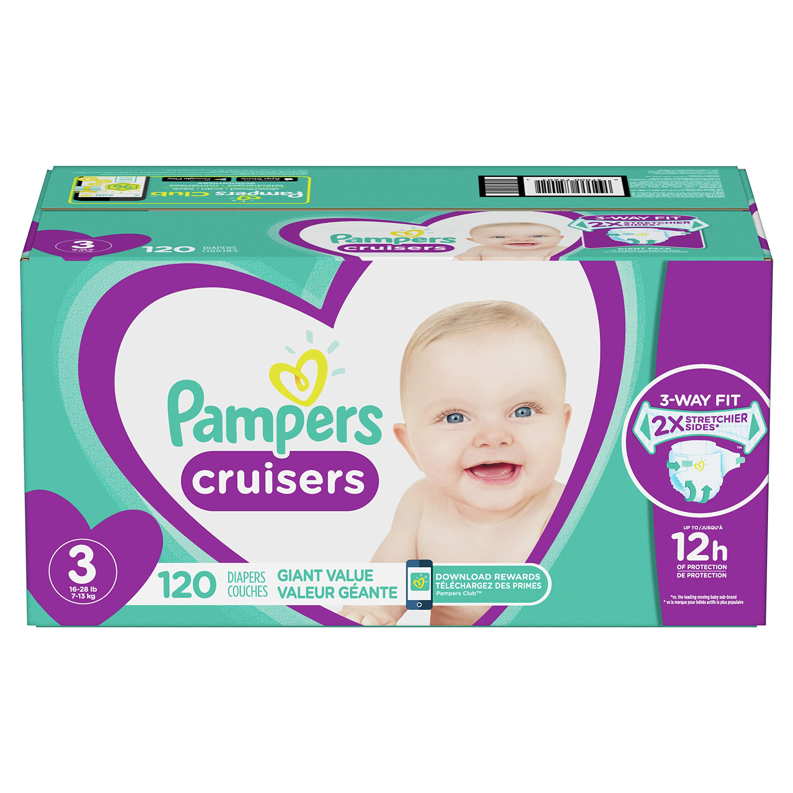 Diapers Size 3, 120 Count – Pampers Cruisers Disposable Baby Diapers, Giant Pack (Packaging May Vary)