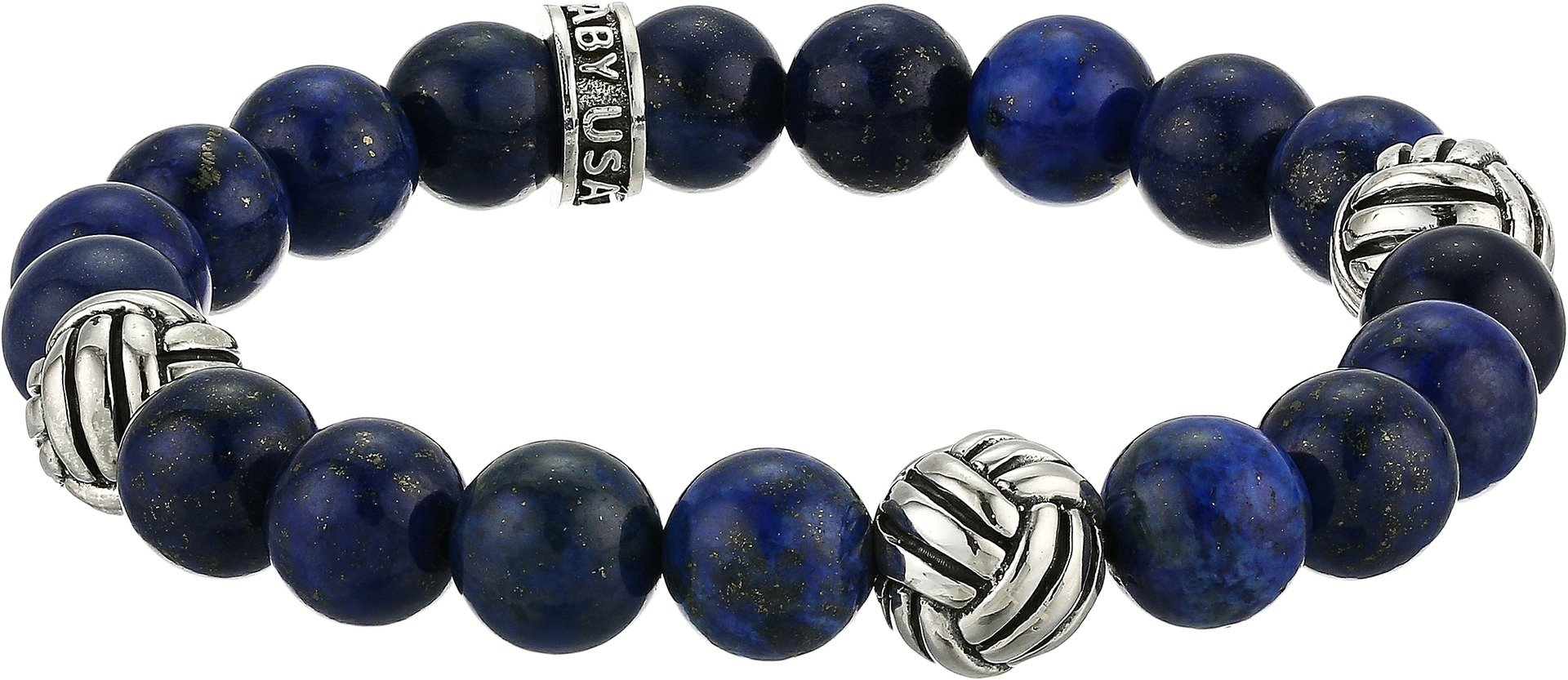 King Baby Studio Men's Tri Monkey Knot 10mm Beaded Bracelet Lapis Bracelet