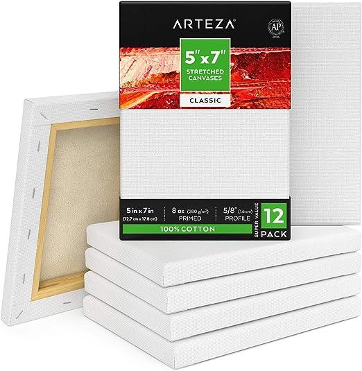 ARTEZA Lienzos blancos estirados e imprimados | 12,7x17,8 cm ...