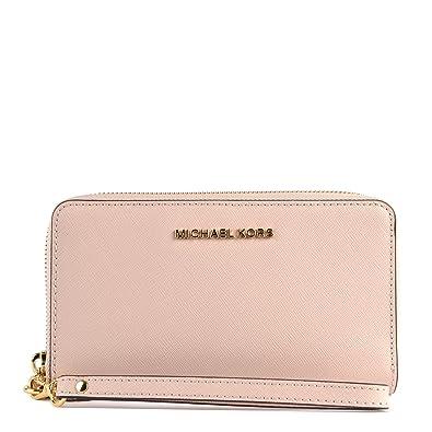 a066ca00e013f4 MICHAEL KORS Jet Set Travel Large Flat Multifunction Wallet in Soft Pink:  Handbags: Amazon.com