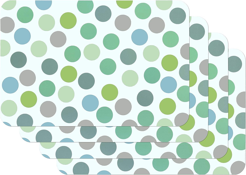 Venilia Multico Salvamanteles Confeti Multicolor Vert, Mantelería, Mantel Individual para el Comedor, Apto para Alimentos, 4 Unidades, 45 x 30 cm, 59057, Paquete de 4, Confetti Mult.Grün, 30 x 45 cm