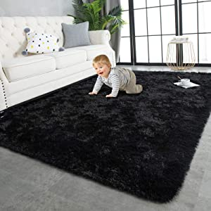 TWINNIS Super Soft Shaggy Rugs Fluffy Carpets, 4x5.9 Feet, Indoor Modern Plush Area Rugs for Living Room Bedroom Kids Room Nursery Home Decor, Upgrade Anti-Skid Durable Rectangular Fuzzy Rug, Black