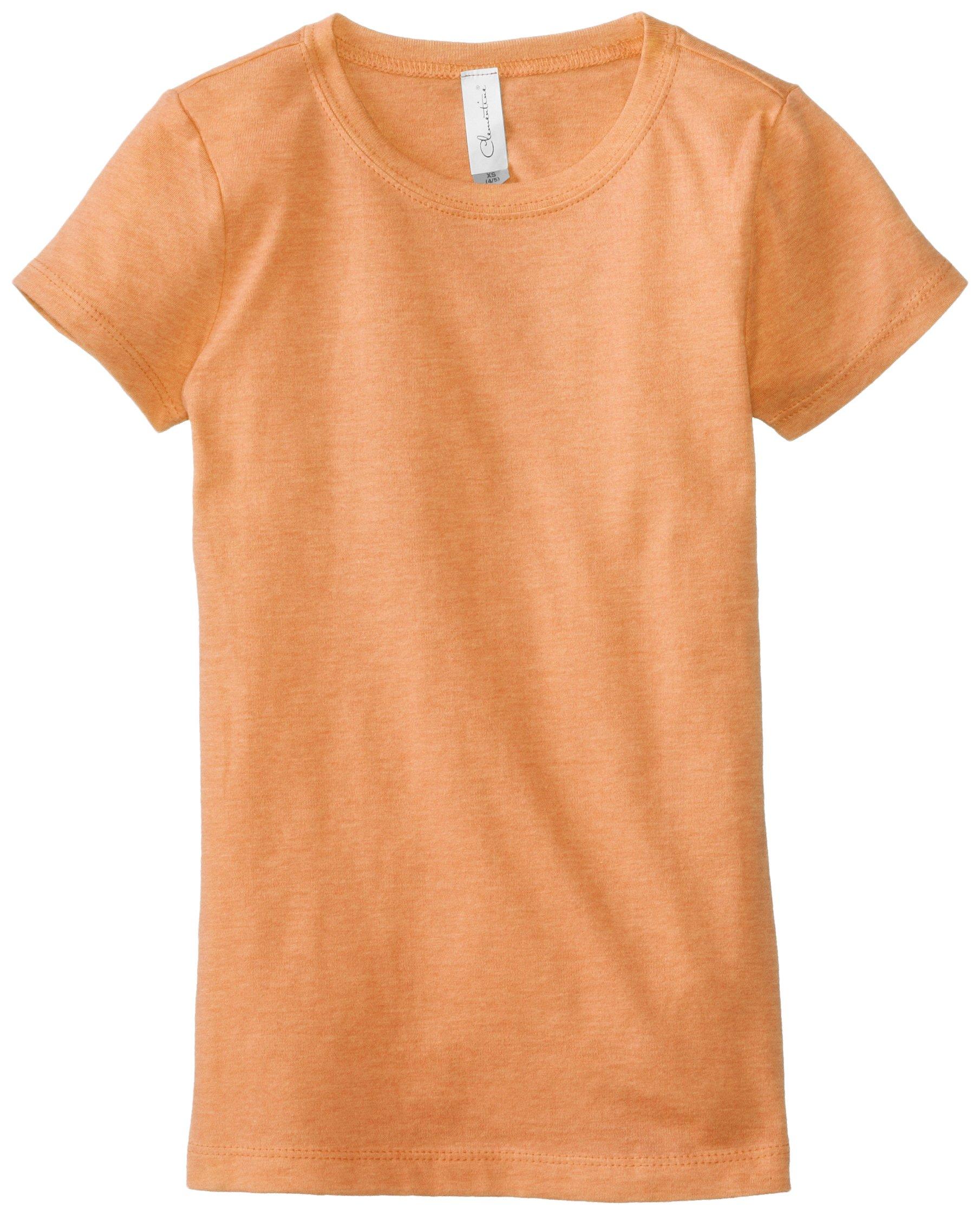 Clementine Big Girls' Everyday T-Shirt, Neon Heather Orange, Large(10-12)