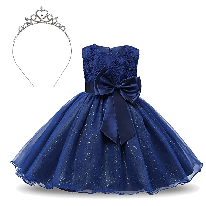 TRADERPLUS Formal Teenage Girls Party Dresses Sleeveless Lace 3D Flower Princess  Tutu Skirt for Toddler Birthday 94477df8f7dc