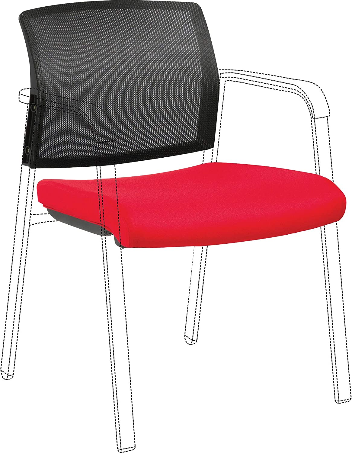 Lorell Stackable Mesh Back/Fabric Seat Chair Back & Seat Kit, Red