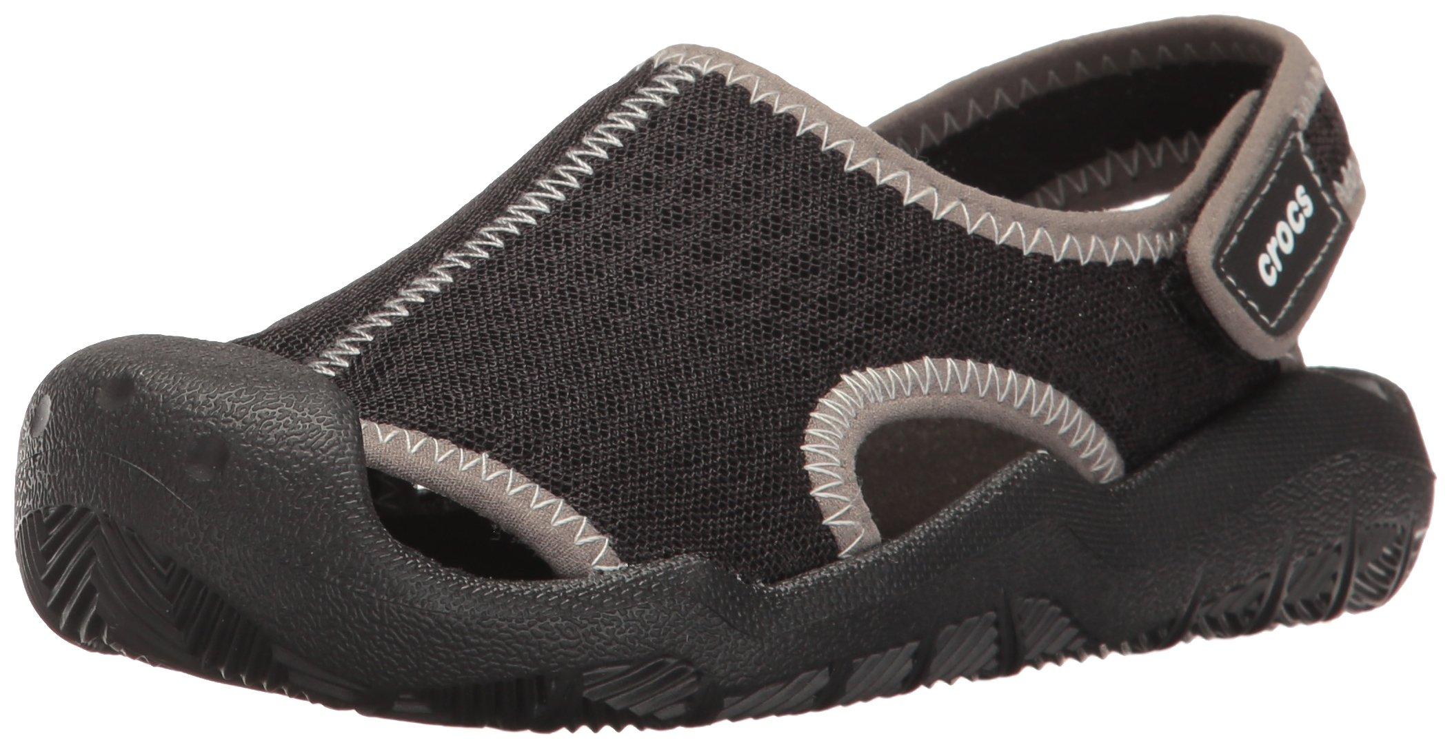 Crocs Kids' Swiftwater Sandal,Black/White,7 M US Toddler
