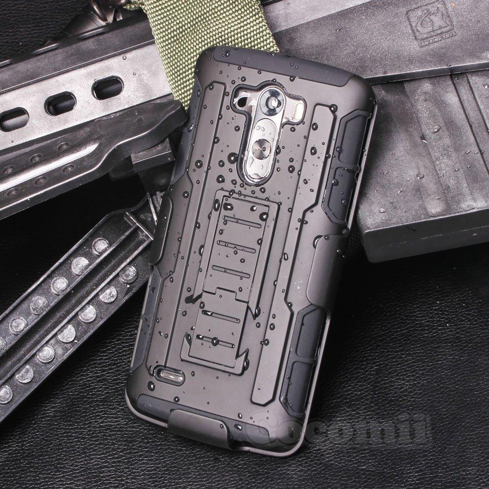 Cocomii Robot Armor LG G3 Case NEW [Heavy Duty] Premium Belt Clip Holster Kickstand Shockproof Hard Bumper Shell [Military Defender] Full Body Dual Layer Rugged Cover for LG G3 (R.Black) ROBOT-LG-G3-BLACK