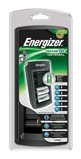 Energizer 629875 - Cargador Universal (con Pantalla LCD, hasta 4 Pilas), Negro
