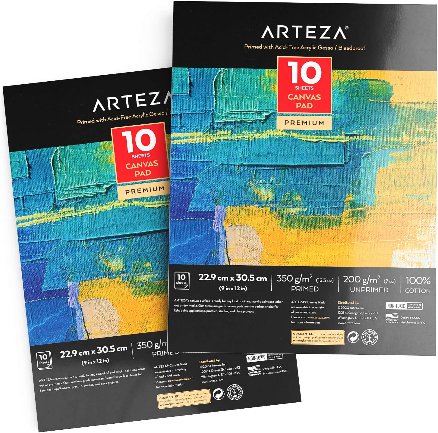 """Arteza 9x12"""" Canvas Pad, 2 Pack, 20 Sheets, 100% Cotton, Primed with Acid-Free Gesso, Glue-Bound Pad of Canvas Paper for Acrylic Painting or Oil Paint, Ideal for Painting and Mixed Media"""