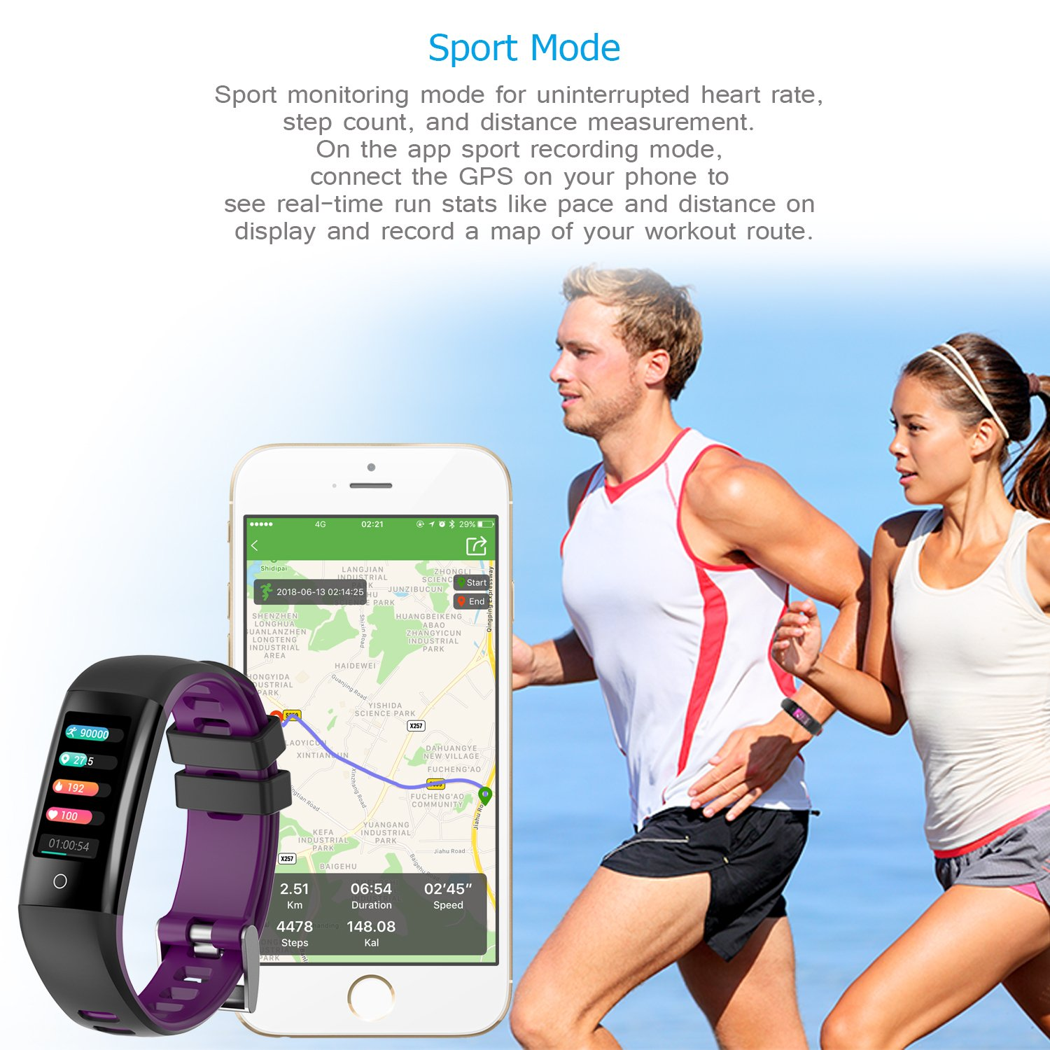 AUNEY Fitness Tracker Color Screen Sport Band Smart Wristband Bracelet Waterproof Bluetooth Activity Heart Rate Sleep Monitor Pedometer sport band for IOS and Android