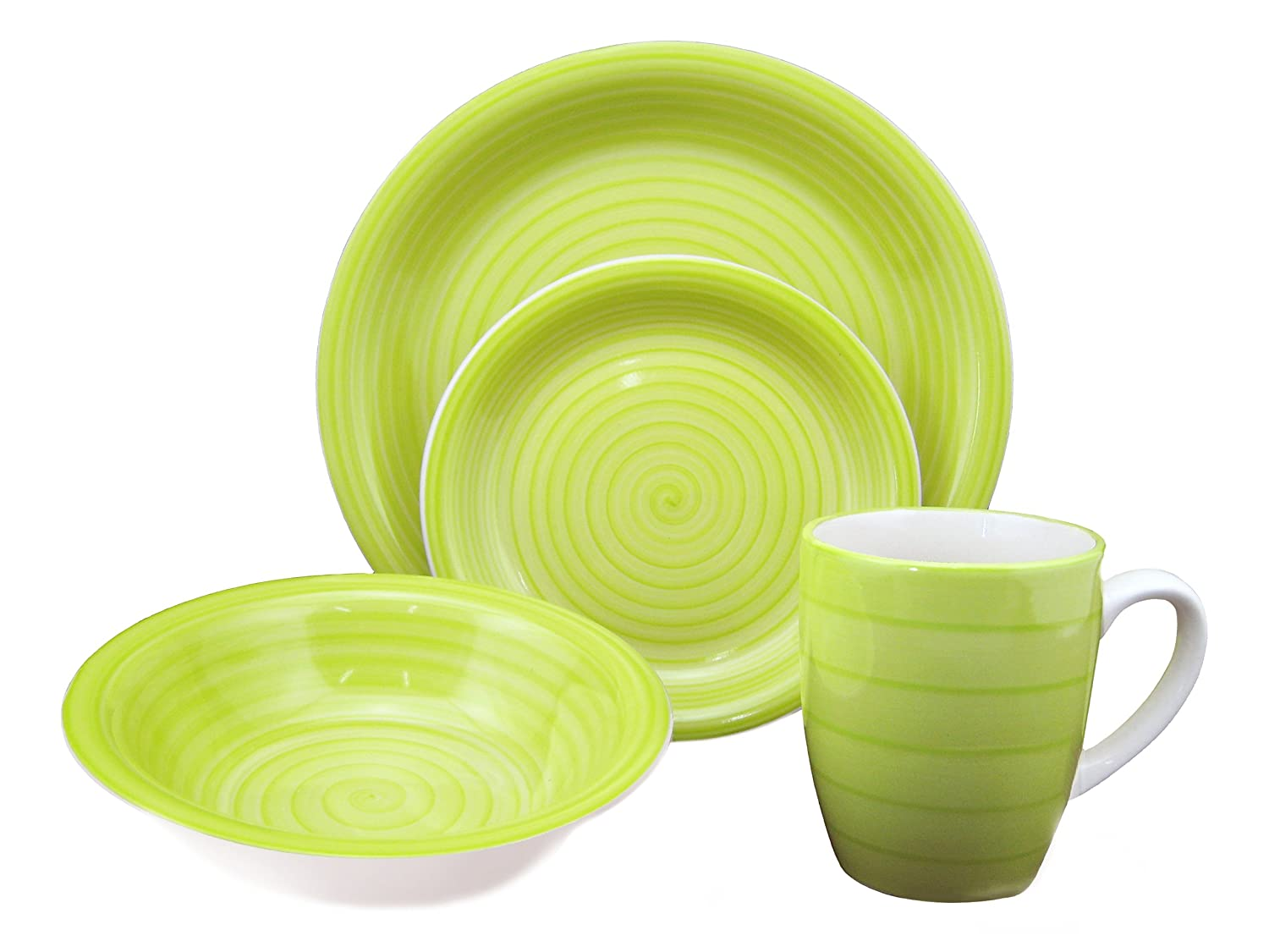Amazon.com | Lorren Home Trends 16-Piece Stoneware Dinnerware Set Green Dinnerware Sets  sc 1 st  Amazon.com : green and white dinnerware - pezcame.com